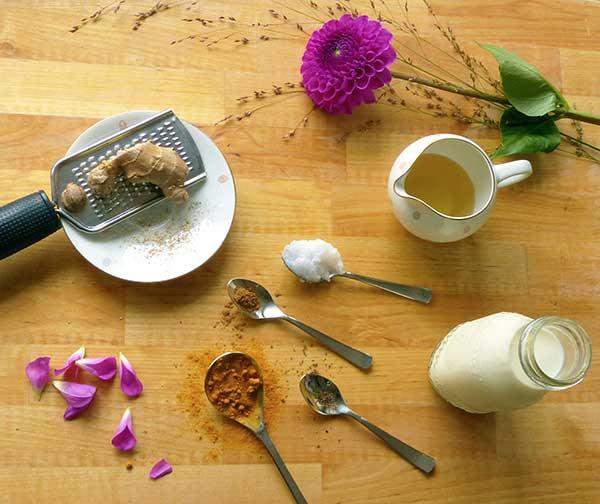 Zutaten für Kurkuma-Latte